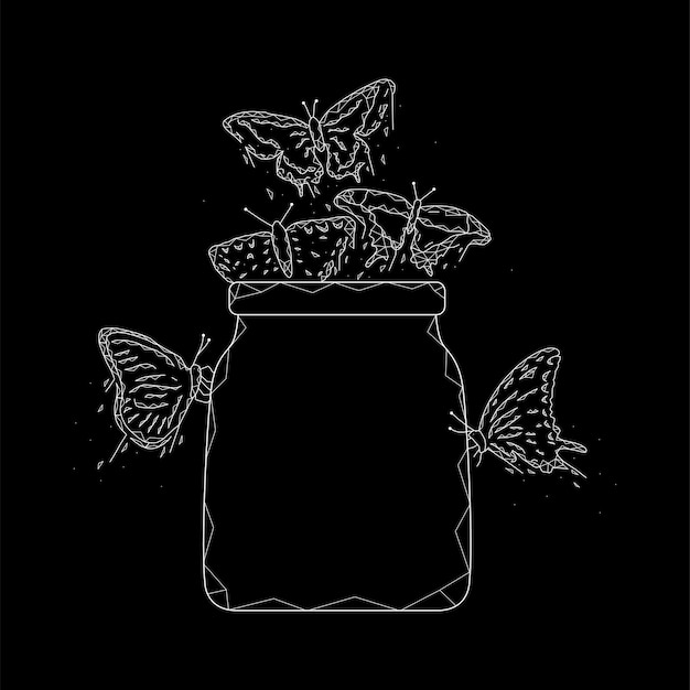 Jar com ilustração vetorial geométrica de borboletas em um fundo preto.