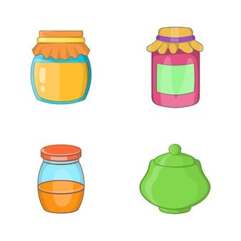 Jar elemento conjunto. conjunto de desenhos animados de elementos do vetor de jar