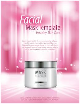 Jar em bokeh de fundo. soro creme natural, máscara de colágeno, cosméticos para cuidados com a pele. para, publicidade para vendas, modelo, ilustração