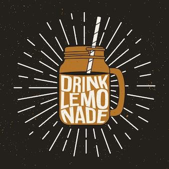 Jar ilustração com limonada e rotulação.