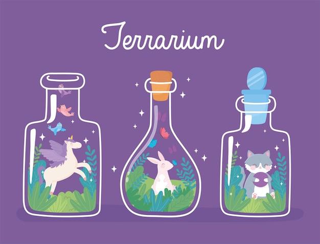 Jar terrário, coelho, unicórnio fofo e gato com plantas florescendo dentro