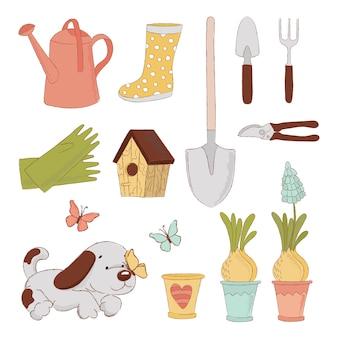 Jardim acessórios conjunto de ilustração de primavera