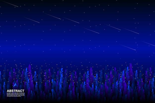 Jardim com fundo do céu da noite estrelada
