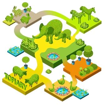 Jardim com topiaria em formas de animais.