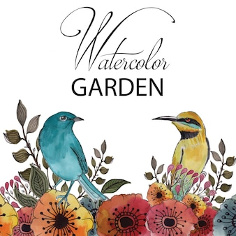 Jardim de aquarela com flores e pássaros