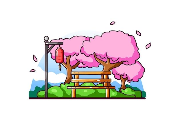 Jardim de flores de cerejeira japonesa
