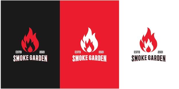 Jardim de fumaça, rústico, logotipo grelhado. vetor premium 2
