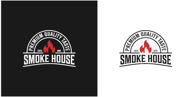 Jardim de fumaça, rústico, logotipo grelhado. vetor premium