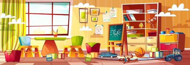 Jardim de infância dos desenhos animados para crianças, parque infantil com janela.