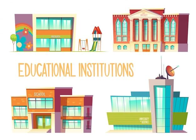 Jardim de infância, escola, universidade estadual e de ciências