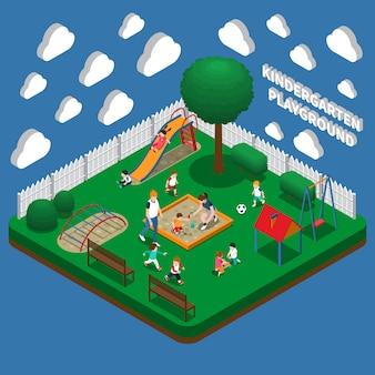 Jardim de infância jogar chão composição isométrica