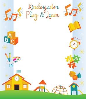 Jardim de infância, pré-escola, borda e moldura de objetos