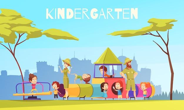 Jardim de infância, tocando, chão, composição