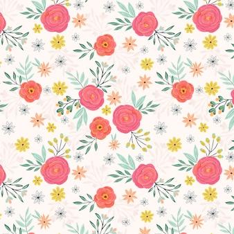 Jardim de verão rosas rosa sem costura padrão