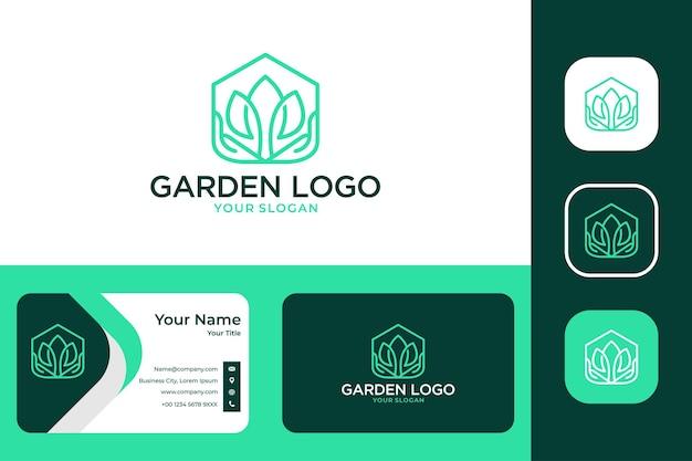 Jardim doméstico verde com design de logotipo de mão e cartão de visita