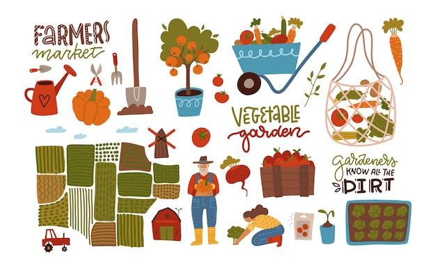Jardim fazenda e agricultura grande conjunto coleção de jardineiro canteiros de jardim campos mapas casas letras citações e colheita desenhada à mão plana