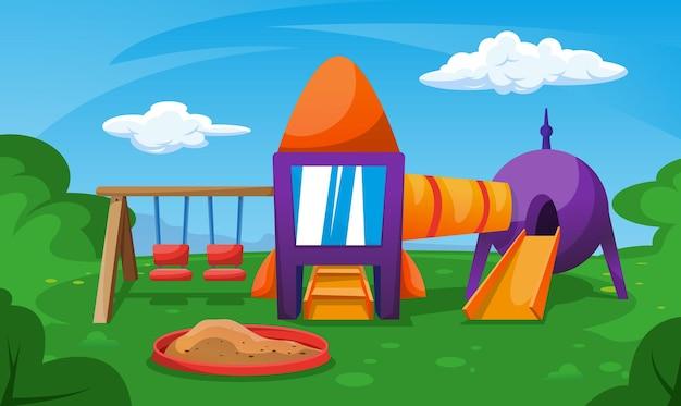 Jardim infantil com caixa de areia e balanços