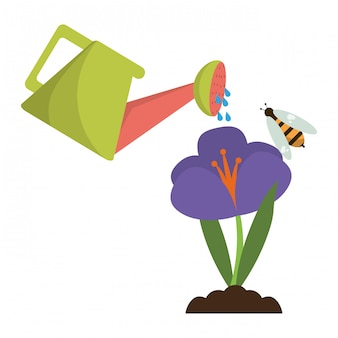 Jardim pode regar flor