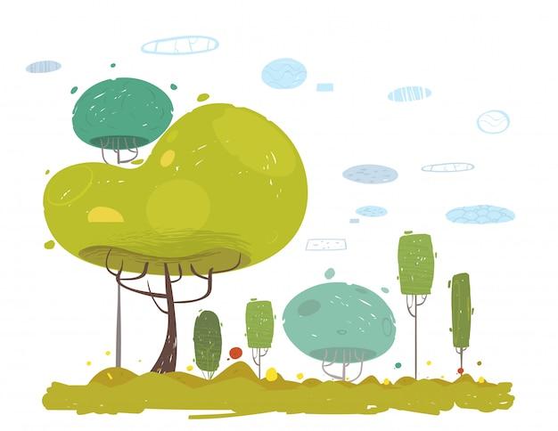 Jardim rústico dos desenhos animados, campo na floresta, cena do parque