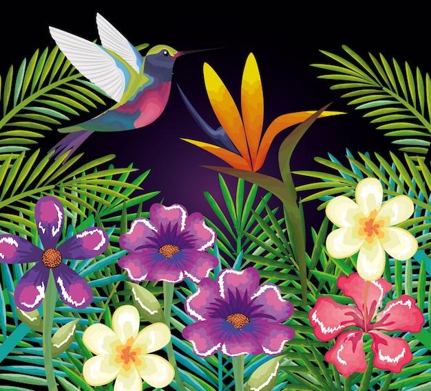 Jardim tropical e exótico com beija-flor
