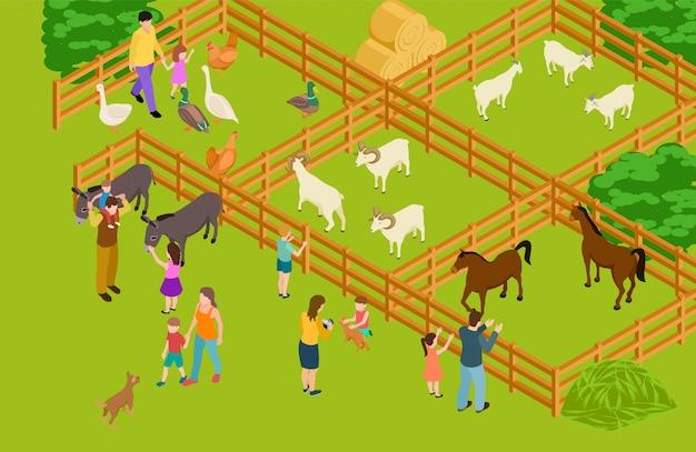 Jardim zoológico de animais de fazenda. personagens de gado e pessoas isométrico vector.