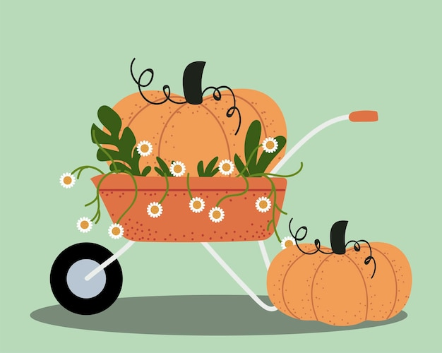 Jardinagem, carrinho de mão com ilustração da temporada de colheita de abóboras