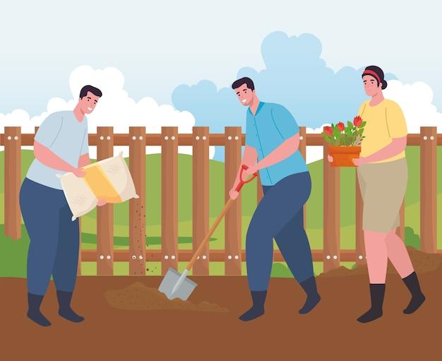 Jardinagem de homens e mulheres com pá de saco de fertilizante e design de flores, plantio de jardim e natureza