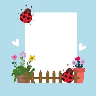 Jardinagem de plantas fofas em cerca de vaso e ilustração de banner de joaninhas