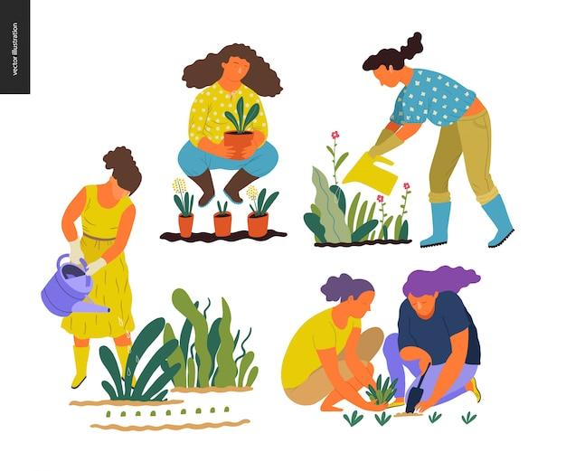 Jardinagem de verão de pessoas