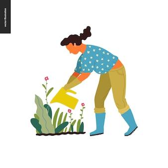Jardinagem de verão pessoas - ilustração em vetor plana conceito de uma jovem mulher