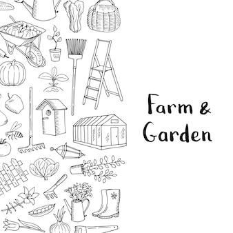 Jardinagem de vetor doodle fundo com lugar para ilustração de texto