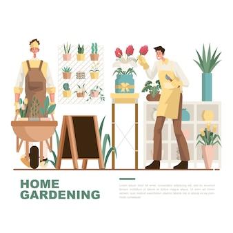 Jardinagem doméstica e flourist dos homens