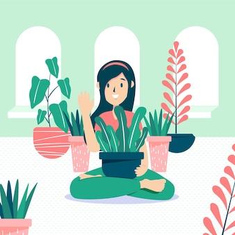 Jardinagem em casa conceito