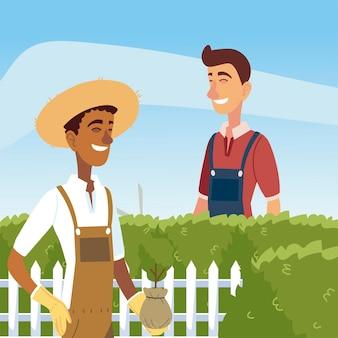 Jardinagem, homem aparando um arbusto com tesoura e jardineiro com ilustração de plantas