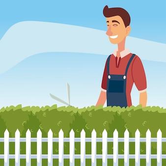 Jardinagem, homem aparando um arbusto ou árvore com a ilustração de uma grande tesoura