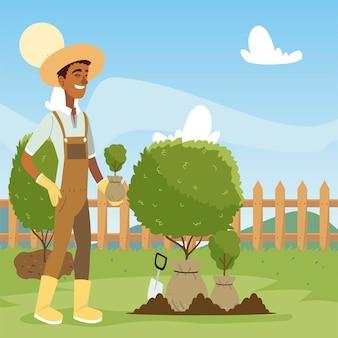 Jardinagem, homem com pá trabalhando no jardim e ilustração do solo de escavações
