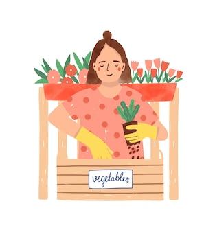 Jardinagem, ilustração plana de horticultura.