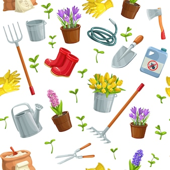 Jardinagem jardinagem padrão sem emenda com ferramentas, flores, botas de borracha, mudas, tulipas, lata de jardinagem ou fertilizante, luva, açafrão e etc.