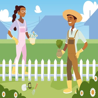 Jardinagem, jardineira mulher homem com flores e ilustração de árvores