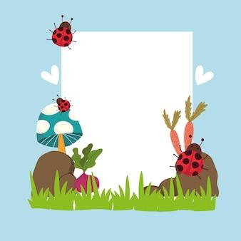 Jardinagem joaninhas cogumelo cenouras pedras na grama banner ilustração