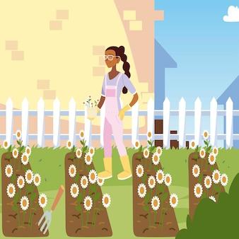 Jardinagem, menina cuida de girassóis na ilustração de plantio