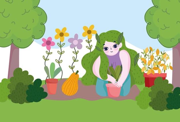 Jardinagem, menina trabalhando no jardim ou fazenda com plantas e ilustração de abóbora