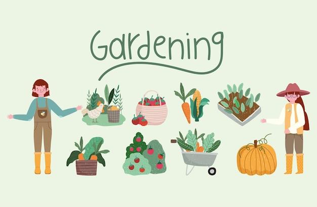Jardinagem menino menina jardineiro carrinho de mão plantas vegetais ilustração
