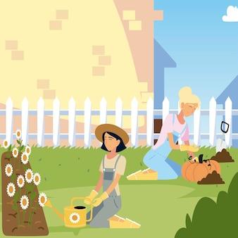 Jardinagem, mulheres com girassóis e ilustração da colheita da abóbora