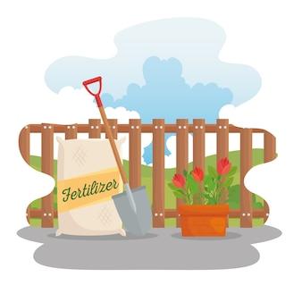 Jardinagem, pá de saco de fertilizante e design de flores, plantio de jardim e natureza