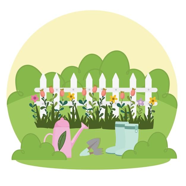 Jardinagem, regador, botas, pá, ancinho, cerca e flores na ilustração da grama