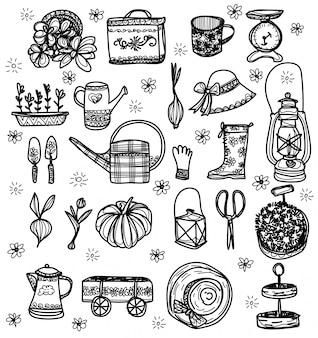 Jardinagem sem costura conjunto mão desenho e desenho