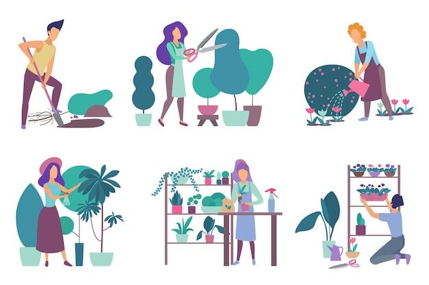 Jardinagem, viveiro de flores e passatempo de floricultura, pessoas regando plantas, podando árvores