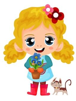 Jardineira encaracolada segurando um vaso de flor ilustração de personagem