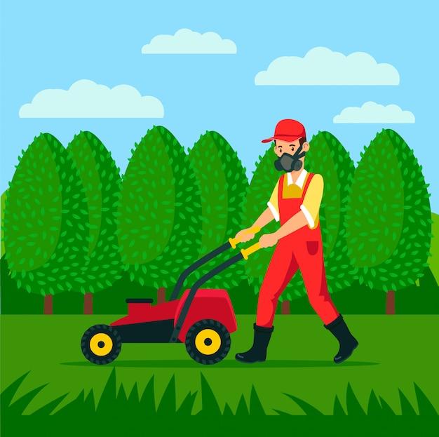 Jardineiro, com, cortador grama, caricatura, ilustração